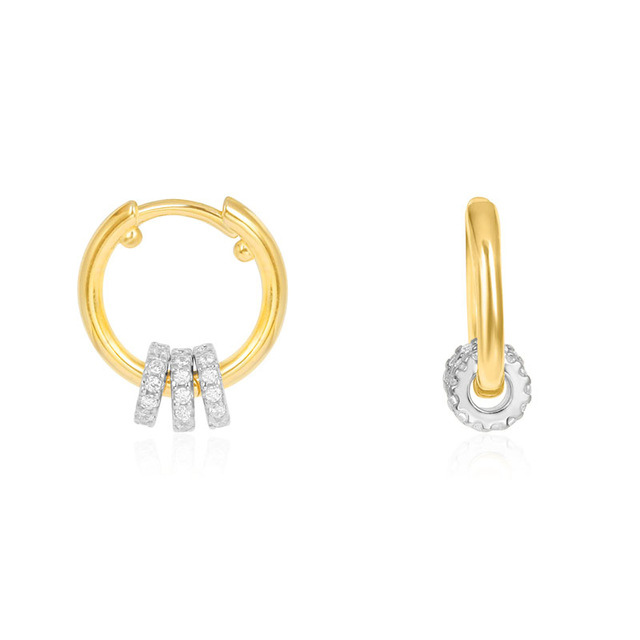New 925 Sterling Silver Toi Et Moi Hoop Earrings Move Small Round Charms Sliding Rings Pave Zircon Women Fashion Party Jewelry