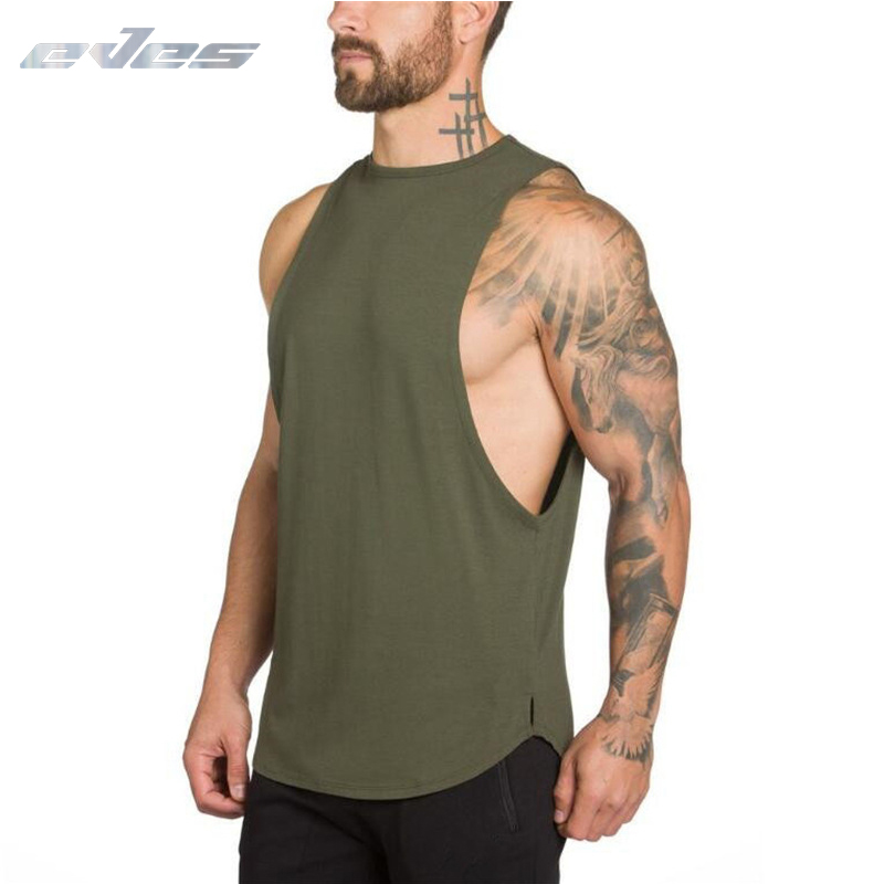 EVES Musculation Gym Clothing Fitness Men Tank Top Army Green Mens Bodybuilding Workout Singlet Curved Hem Sleeveless Shirt