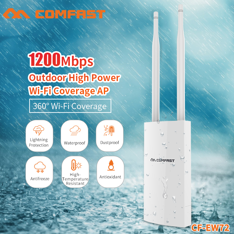 COMFAST 2.4+5.8Ghz New WIFI Repeater Router Bridge WIFI Access Point 1200Mbps Outdoor High Power WIFI Coverage AP Router CF-EW72 new wifi