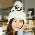 Warm Bonnet Caps Pom Pom Hats Patchwork Autumn Winter Beanies Hat  Warm Cotton Knitted Hats