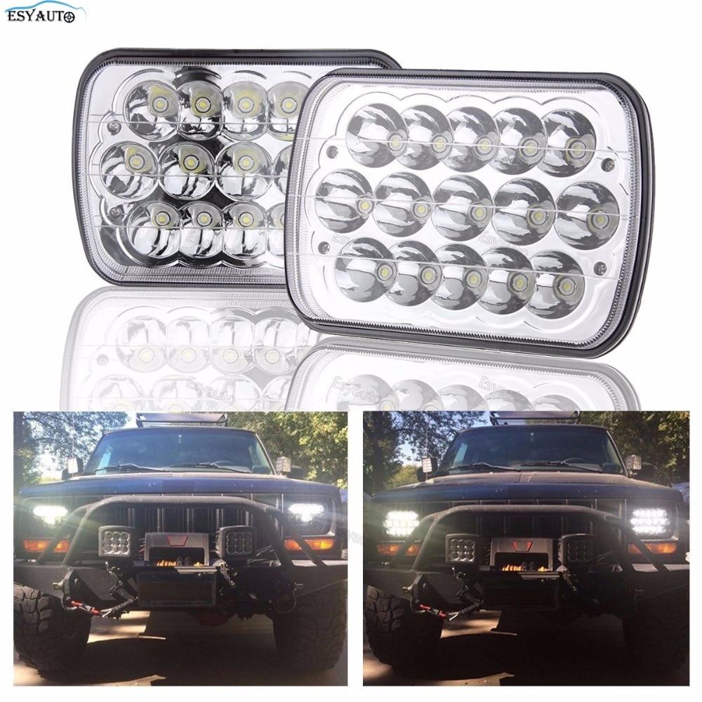 5x7 Inch Rectangular LED Headlights Sealed Beam High Low Beam 7x6 Truck Headlamp Kit for H6014 H6052 H6054 (Chrome)
