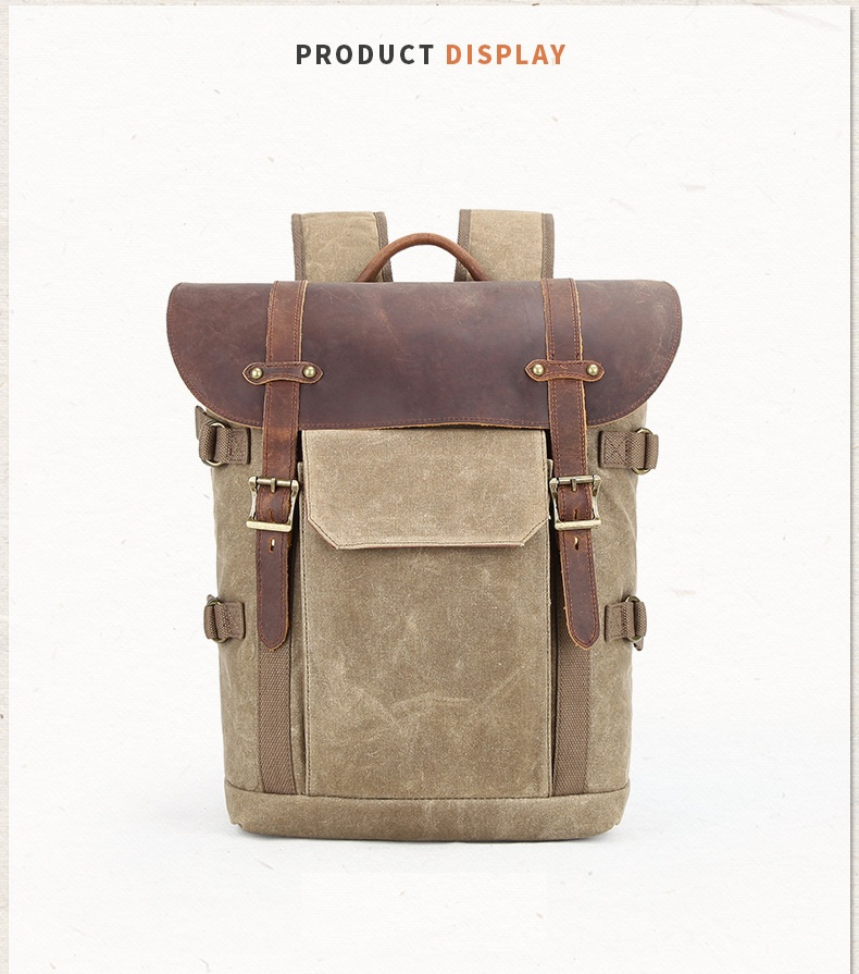 Canvas and leather DSLR Camera Backpack