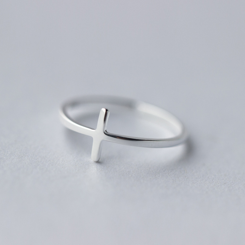 Religious Modern Cross Stackable Sterling Silver Ring hXQGOMQvaS
