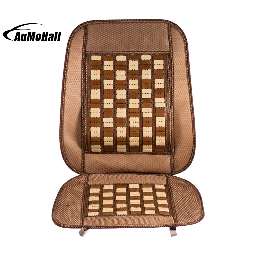 Car Seat Covers Car Summer Cool Bamboo Car Seat Cover Cushion Back Support Waist Massage 18*19 inch