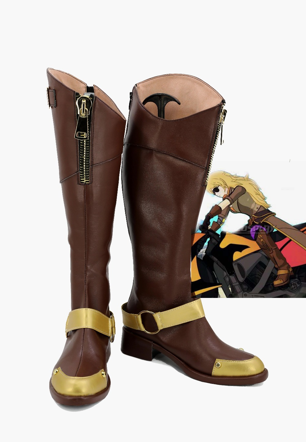 RWBY Shoes Yang Xiao Long Cosplay Shoes Boots Halloween Brown High Boots Custom Made For Halloween Carnival European Size