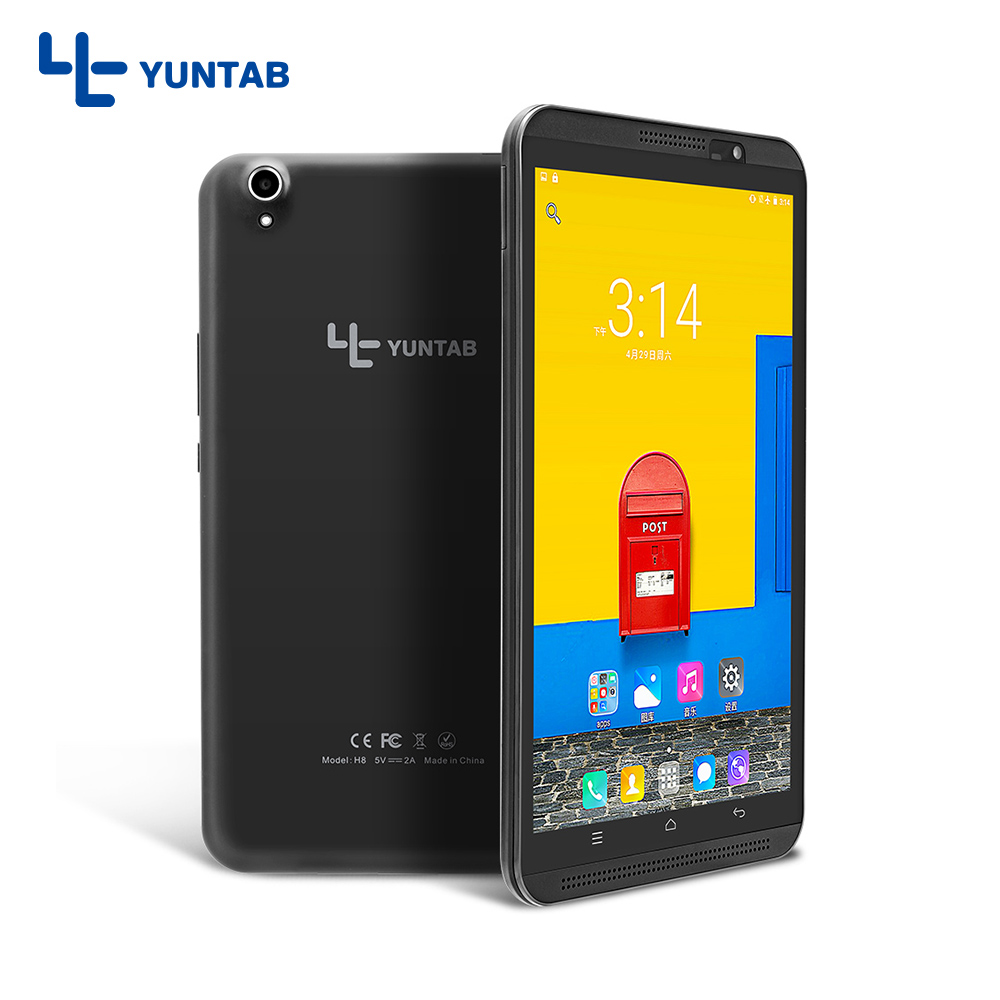 Yuntab 8 inch 4g H8 Android 7.0 tablet pc Quad-Core Bluetooth phablet support dual SIM card with dual camera (black) yuntab 7inch e706 silver alloy android tablet pc quad core 1gb 8gb touch screen 1024x600 dual camera support sim card