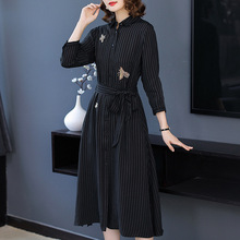 Striped wrist sleeve single breasted shirts dress 2018 new high quality office lady women autumn a line dress silk print single breasted shirt dress 2018 new runway women summer dress high quality office lady a line dress
