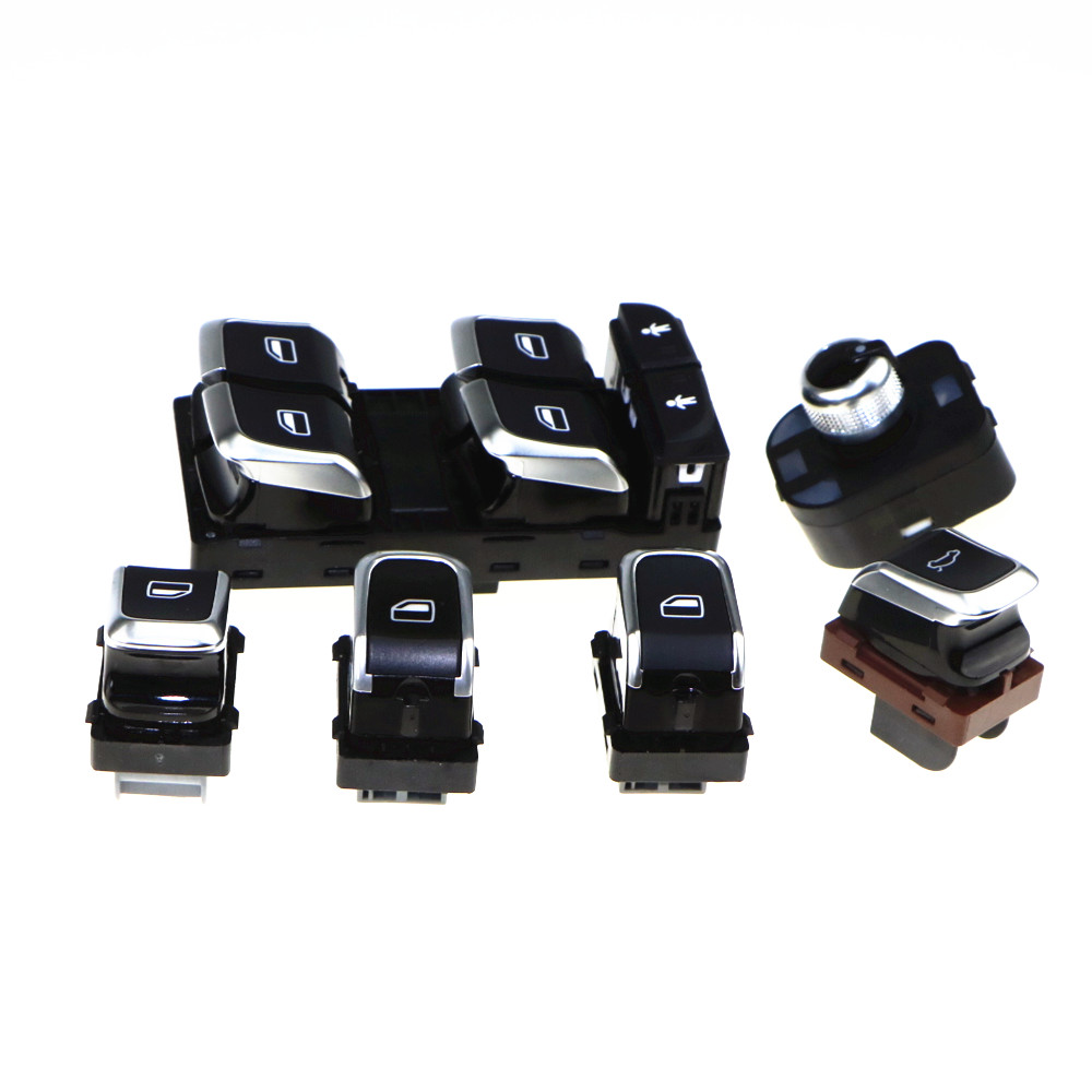 6 Pcs New Chrome Master Window & Mirror Switch & Trunk Switch Sets For A6 S6 C7 A7 RS6 4GD 959 851 B 4GD 959 565 4GD 959 855 7pcs oem chrome headlight master window