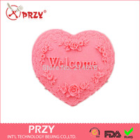 DIY wellcom heart /rose shaped handmade soap mold candle molds silicon mould Chocolate Candy Moulds Form of Cake