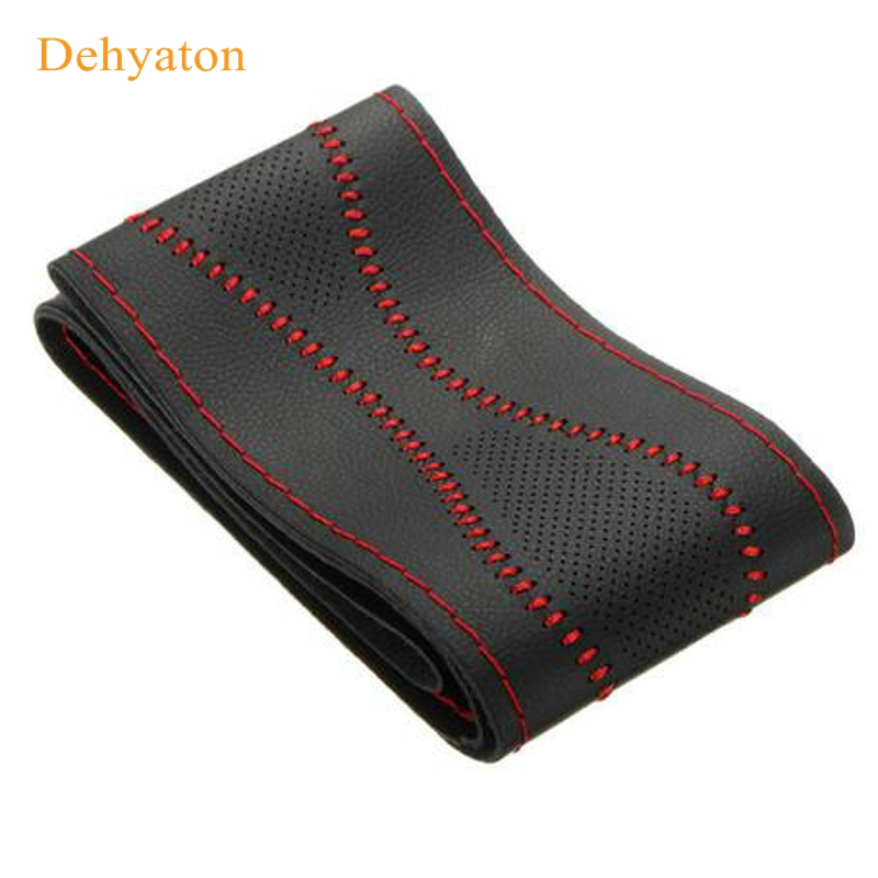 Dehyaton Steering Wheel Covers Leather New Universal 38 cm DIY Car Case With Needles And Thread Car Cover Diy Styling 5 colors