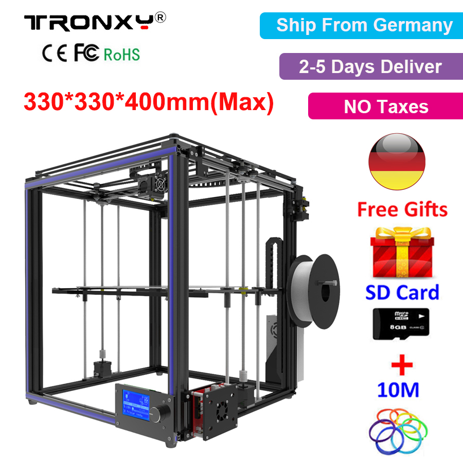 Tronxy X5S 3D Printer DIY Kit i3 High Precision Metal 3D Printer DIY Kit +Aluminium Extruder Hotbed SD Card Build Tools Filament tronxy 3d printer all metal upgrade frame 3 3 lcd screen dual z axis extruder 3d printer diy kit 10m filament 8g sd card gift