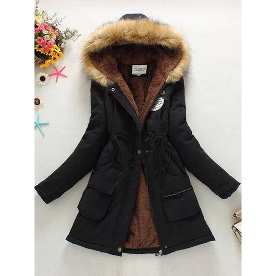 Women fashion basic warm outwear coat multi color plus size 3XL hooded jacket parka outwear lace up zipper women slim coats