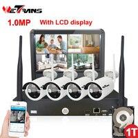 ワイヤレス監視カメラシステム10.1インチ液晶ディスプレイ4ch nvr p2p 20メートルirナイトビジョン720 pのhdワイヤレスcctvシステムwifi