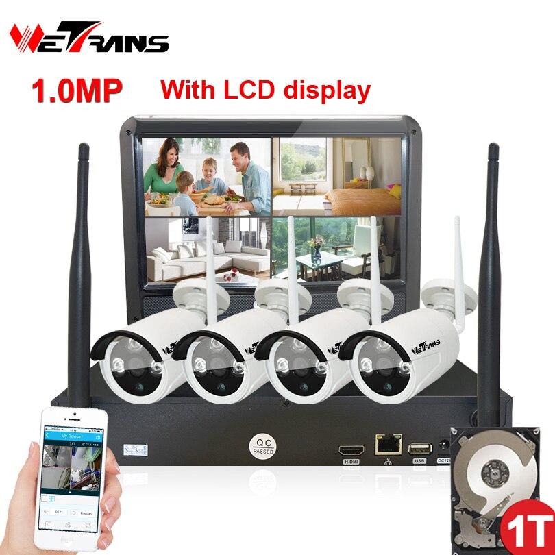 Wireless Surveillance Camera System 10.1 Inch LCD Display 4CH Wifi NVR P2P 20m IR Night Vision 720P HD Wireless CCTV System Wifi цена