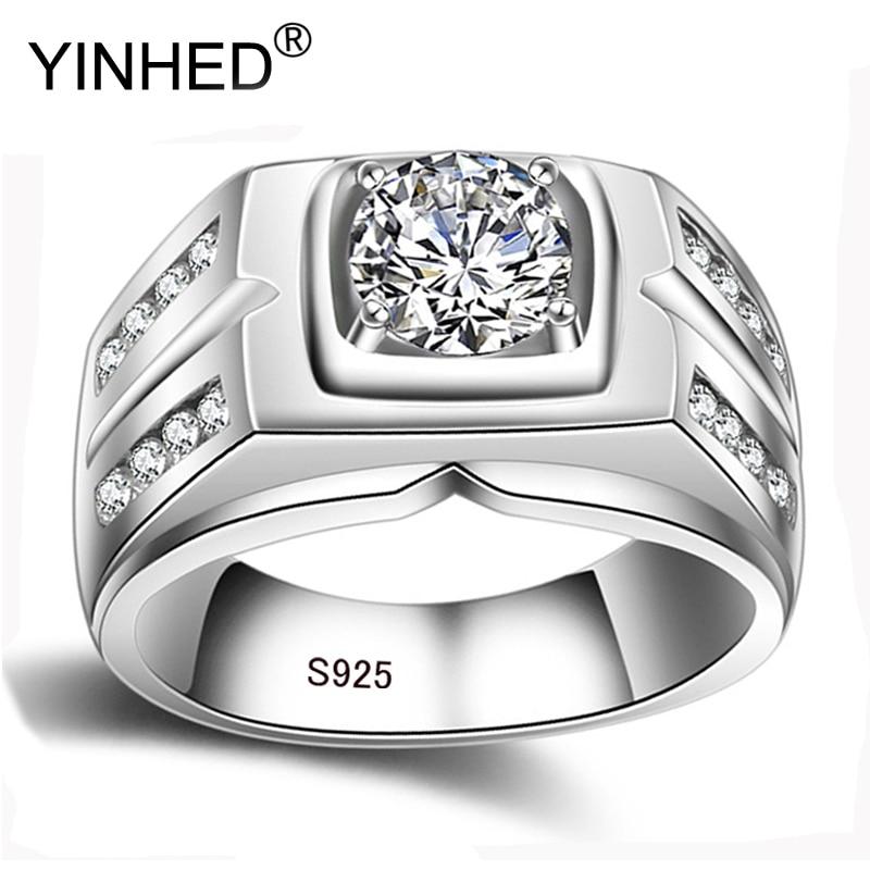 YINHED Luxo Do Vintage Real de 100% 925 Sterling Silver Ring Jóias 8mm 2 Quilates Cubic Zircon Anéis de Casamento Noivado Para homens ZR484