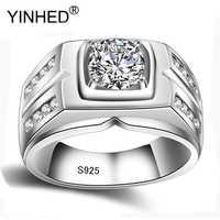 YINHED Luxus Vintage 100% Echt 925 Sterling Silber Ring Schmuck 8mm 2 Carat Cubic Zirkon Engagement Hochzeit Ringe Für männer ZR484