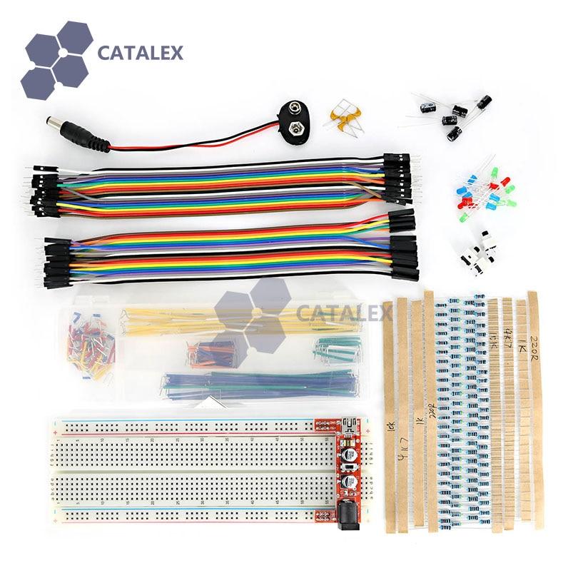 Breadboard Tools Kit w Breadboard Power Module Jumper Wire Resistor LED Button for font b Arduino