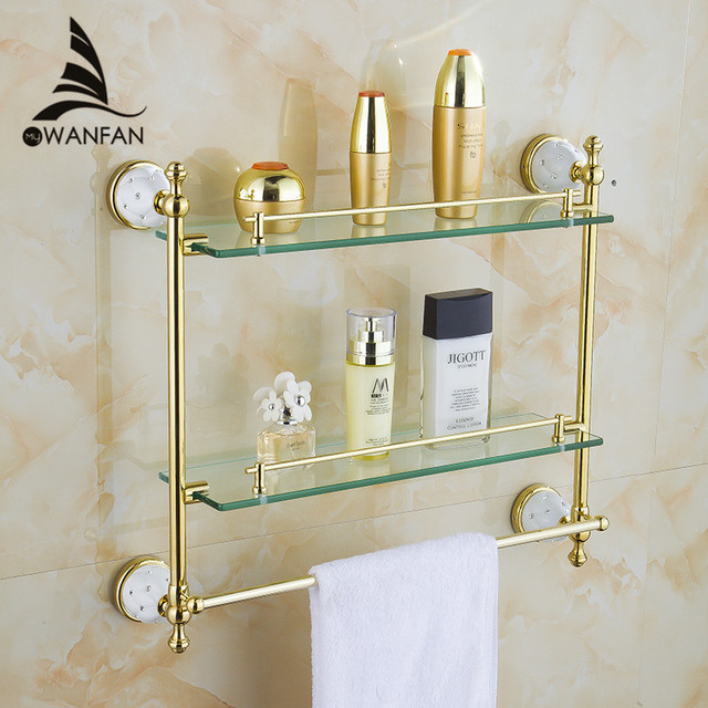 Bathroom Shelves Tempered Double Glass Shelf Towel Rack Shower Storage Wall  Shelf Solid Brass Gold Bath