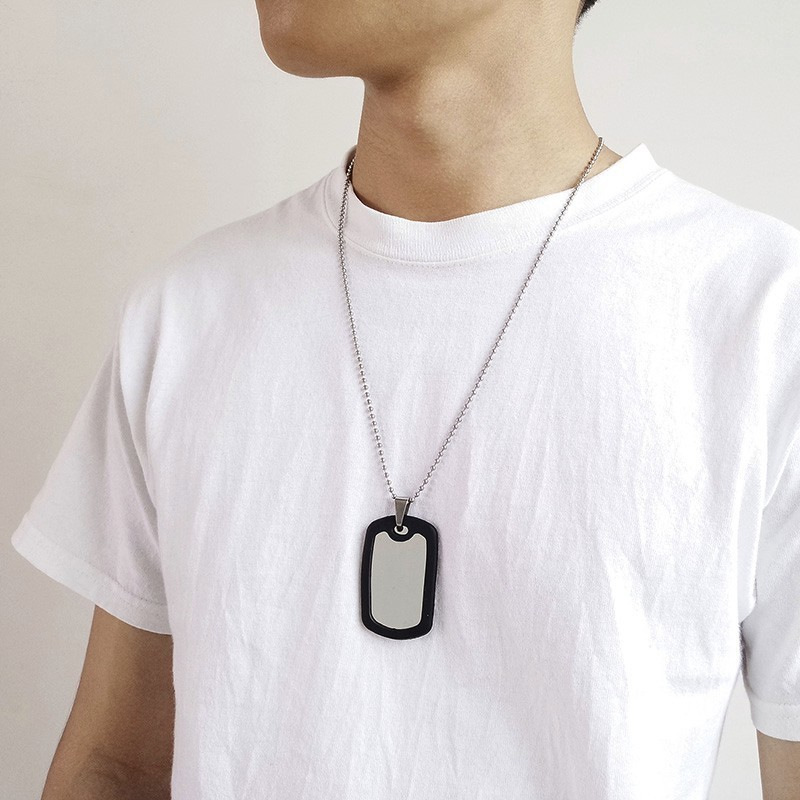 Silver //Red Unisex Military Army Dog Tags Fancy Dress Accessory Soldier Necklace