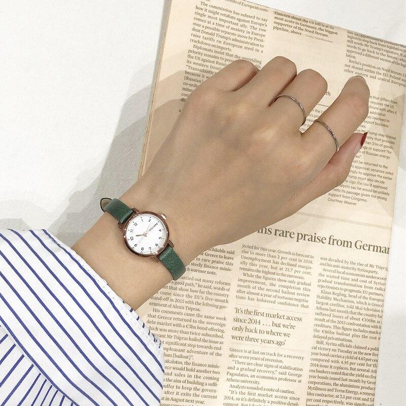 שעון יד נשים עם רצועת עור דק במיוחד חברת Ulzzang 5