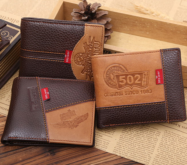 Fashion famous brand genuine leather men wallets with coin pocket short size coin purse vertical card holder wallet dollar price men wallets famous brand genuine cow leather wallets with coin pocket thin purse card holder fashion slim wallet