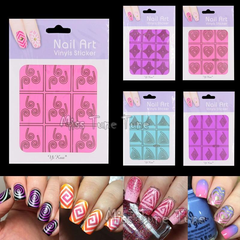 1pcs Nail Art Stencils Tip Nail Vinyls Guide Circle Square Irregular ...