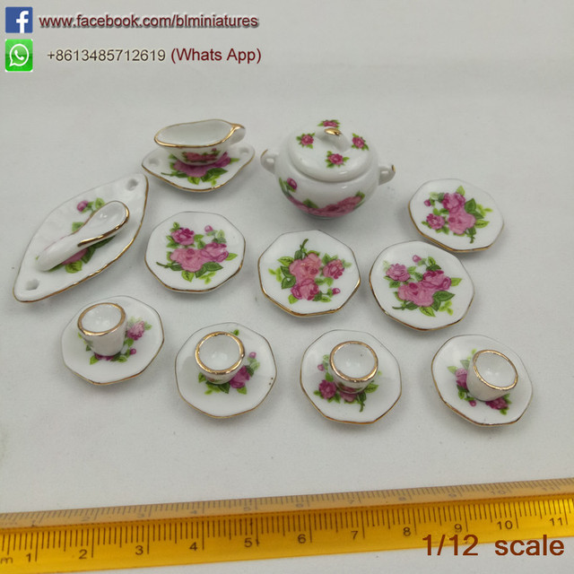 1:6 Mini Dollhouse Ceramic Tableware Set Miniature Porcelain Flora Dishes Bowls Tureen for Doll House Kitchen