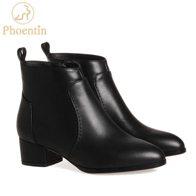 Phoentin kadın deri çizmeler inek derisi yarım çizmeler bayanlar orta yüksek topuk 4 cm sivri burun fermuar kapatma kadın sonbahar ayakkabı FT213