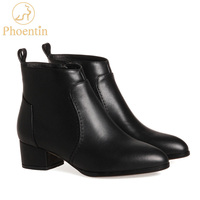 Phoentin women leather boots cow skin ankle boots ladies mid high heel 4cm pointed toe zipper closure women's autumn shoes FT213