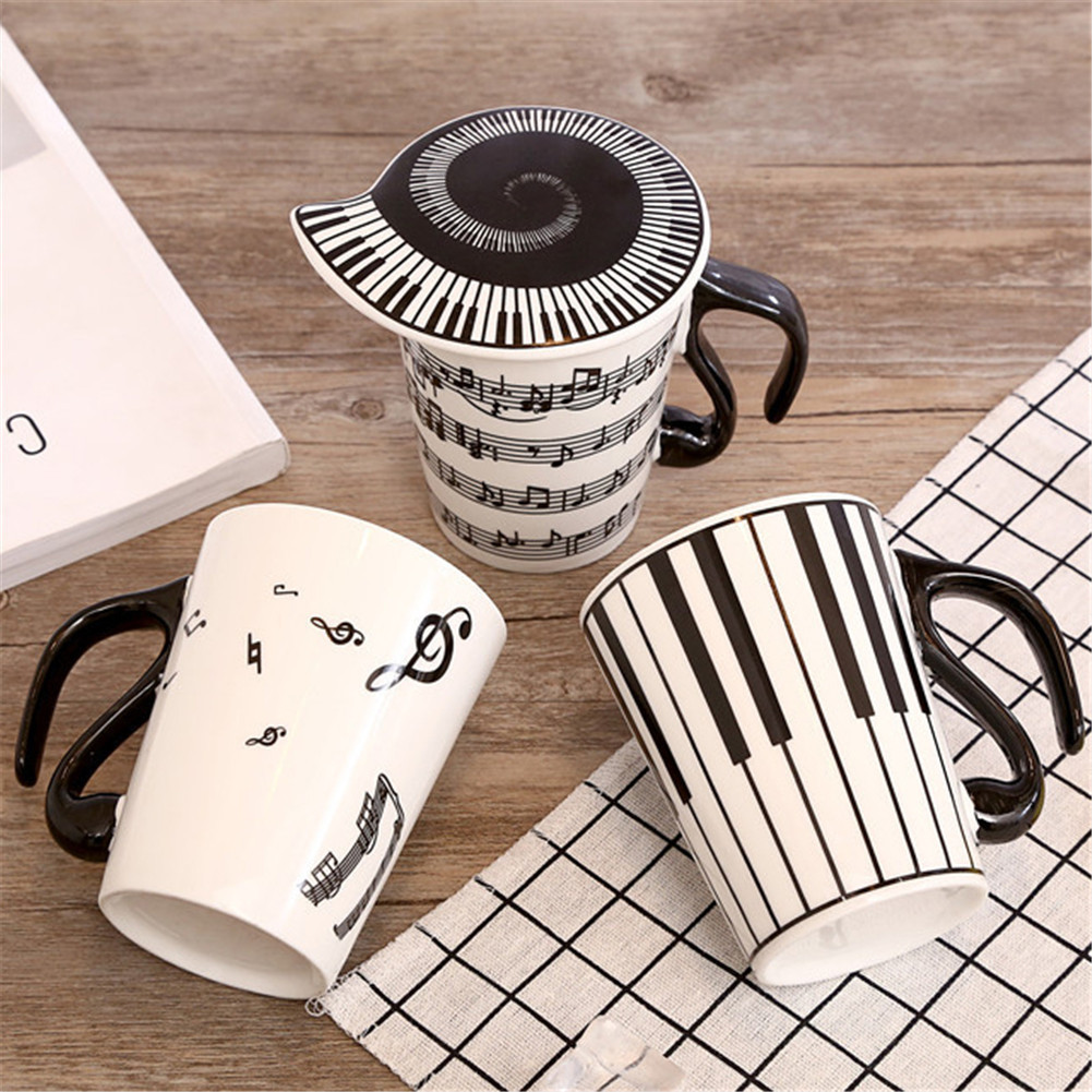 1pcs Creative Ceramic Tea Mug Piano Musical Note Milk Juice Lemon Mug Coffee Tea Cup Home