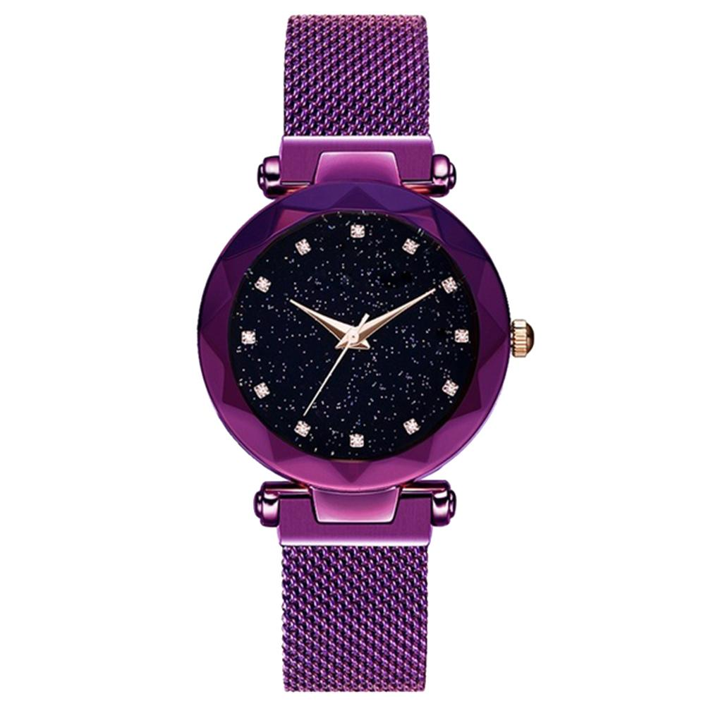 Luxury Rhinestone Starry Sky Round Dial Mesh Band Women Quartz Wrist Watches Gift vansvar cute moon stars design analog wrist watch women unique romantic starry sky dial casual fashion quartz watches women gift