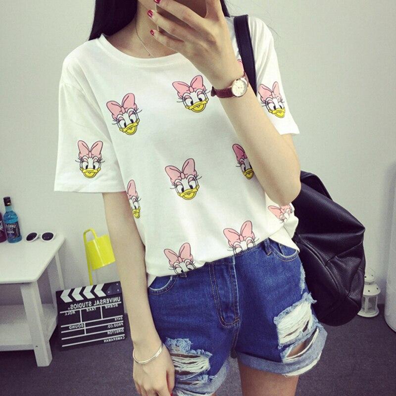 Cute Cartoon Printed Women T-shirt Summer Short Sleeve Round Neck Cotton Tee Shirt Femme Fashion Casual Loose Camisetas Mujer