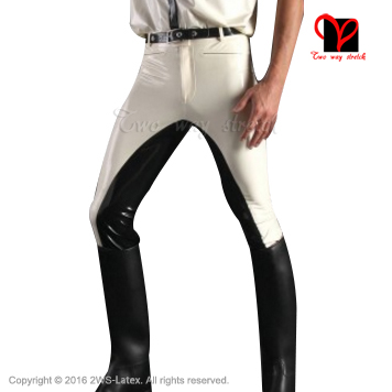 Sexy White Latex Pants with black trims Rubber Gummi Bottom leggings Trousers bottoms jeans plus size XXXL KZ-104 latex breeches jeans rubber pants trousers front zipper gummi bottoms pantaloons jodhpurs leggings tights plus size xxxl kz 081