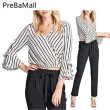 купить Fashion Women Striped Tops Flare Sleeve T shirt V-neck Shirts Casual Crop Tee Clothing For Ladies Hot Sale C145 дешево