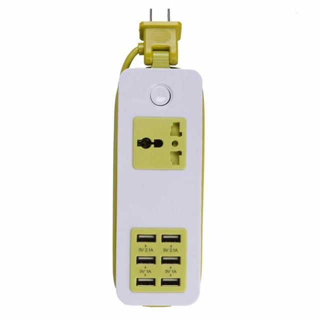 Зеленый 6 Usb-порт Экран США ЕС ВЕЛИКОБРИТАНИЯ Plug Путешествия Адаптер ПЕРЕМЕННОГО ТОКА Разъем Смарт-Зарядное Устройство Для Дома Телефон Tablet камера