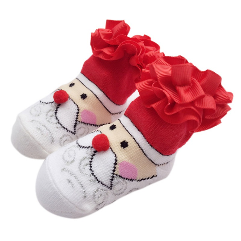 Newborn Baby Socks Winter Cotton Lace Flower Child Socks Red Bowknot Christmas Gifts