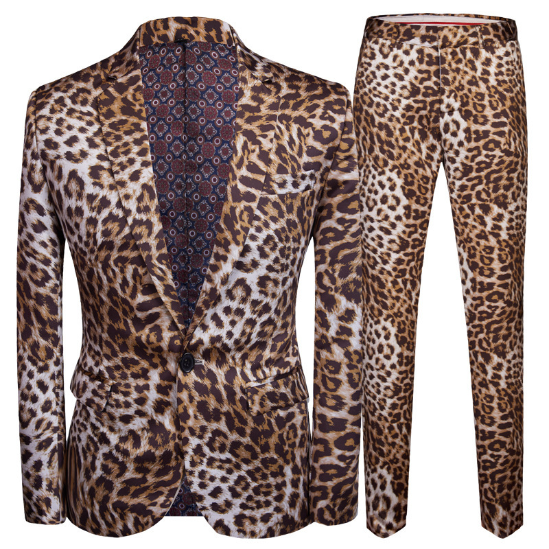 PYJTRL Tide Men Plus Size DJ Night Club Leopard Print 2 Pieces Set Mens Suits With Pants Stage Singers Costume Casual Suit