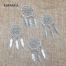 LJJAGLL Fit Earrings Neckalce Diy Metal 5pcs/lot Vintage Silver Tree Leaf Feather Wings Dream Catcher Pendant Charms DIY002