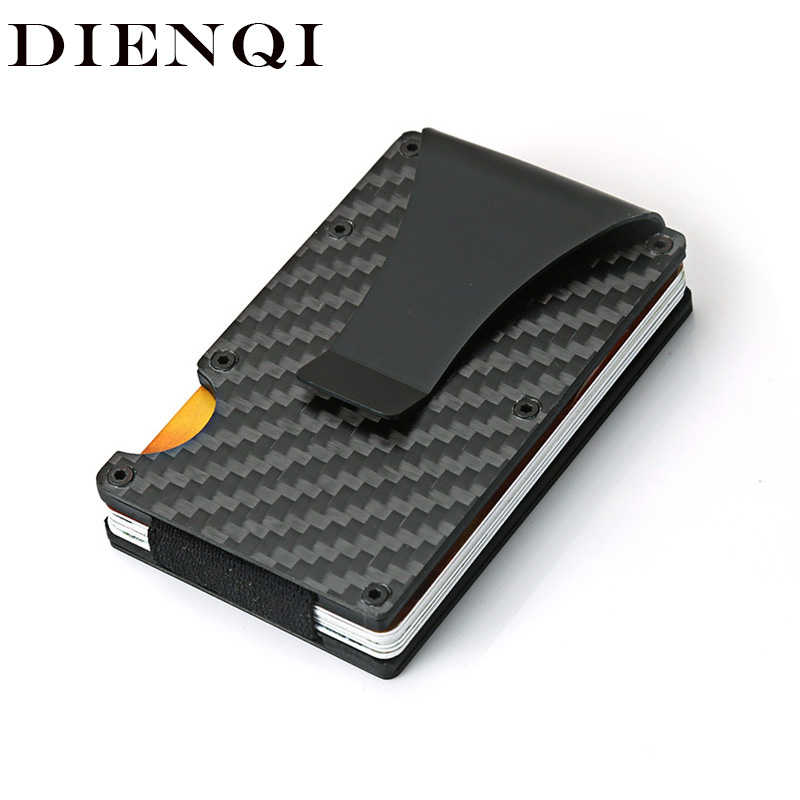 DIENQI Carbon Fiber Credit Card Holder Minimalist Wallet Aluminum Metal Anti RFID Blocking Business Bank Id Card Holder For Men