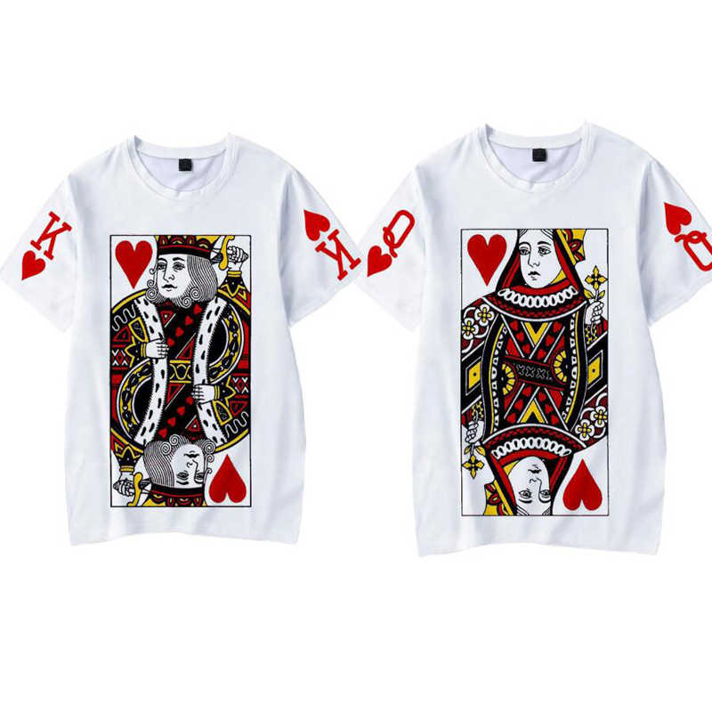 Fashion Graphic Tumblr Poker stampa King Queen 3D T Shirt 2019 estate donna uomo manica corta Casual coppia abiti coordinati