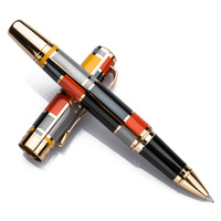 Roller Ball Pen with Golden Trim Fashion Colored Ink Pen with Smooth Refill Great for Gift Graduate Business Office