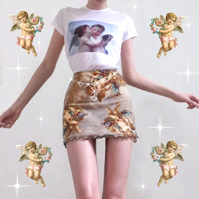 Summer Skirt Harajuku Angel Print Mesh Patchwork Double Layer Cute Skirts Womens Elastic High Waist Wild Street Trend Hip Skirt