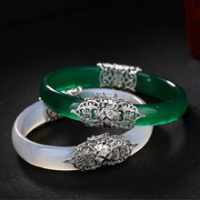 925 Sterling Silver Green Jade Bangles Silver Palace Vintage Adjustable 925 Jade Bangles For Women Palace Jewelry