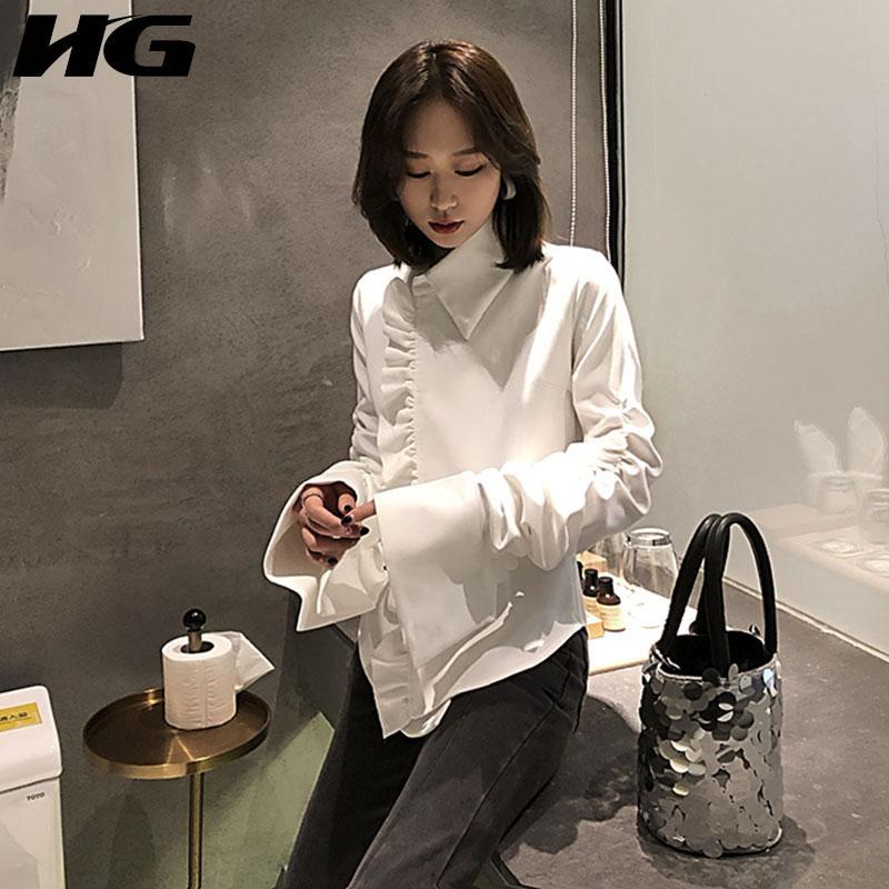 HG automne nouvelle asymétrie Blouses femme 2019 à manches longues femmes chemises corée Style pli à volants femmes Blouse hauts blancs WQR1005