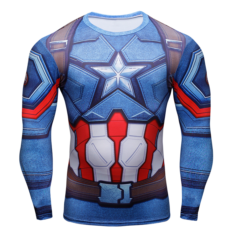 Long Sleeve Compression Top Captain America Printed Tee Casual