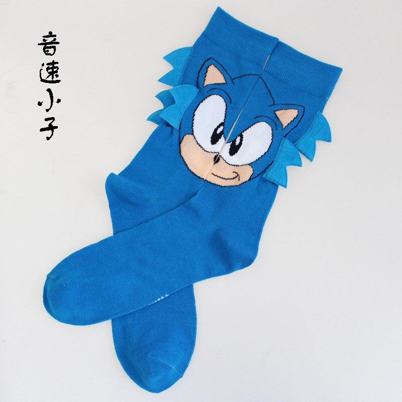 blue Sonic kid Men's   Socks   Street Cosplay Cotton Comics Women Men The Force Awakens   Socks   Party Novelty F 1 Pair