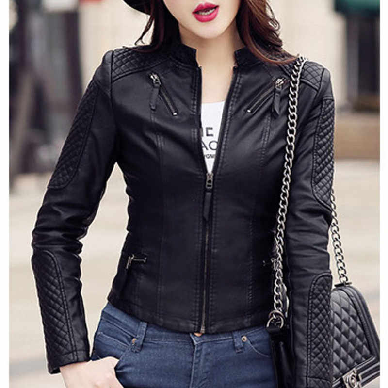 New Women Spring Autumn Pu Leather Jacket Casual Slim Soft Moto Jacket Biker Faux Leather Jacket Female Coat Basic Streetwear