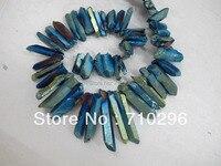 3 strings bán buôn/lô Titan Coatted Thô Thạch Anh Điểm Tinh Thể Đá Hạt Trang Sức vòng cổ pendant diy findings16