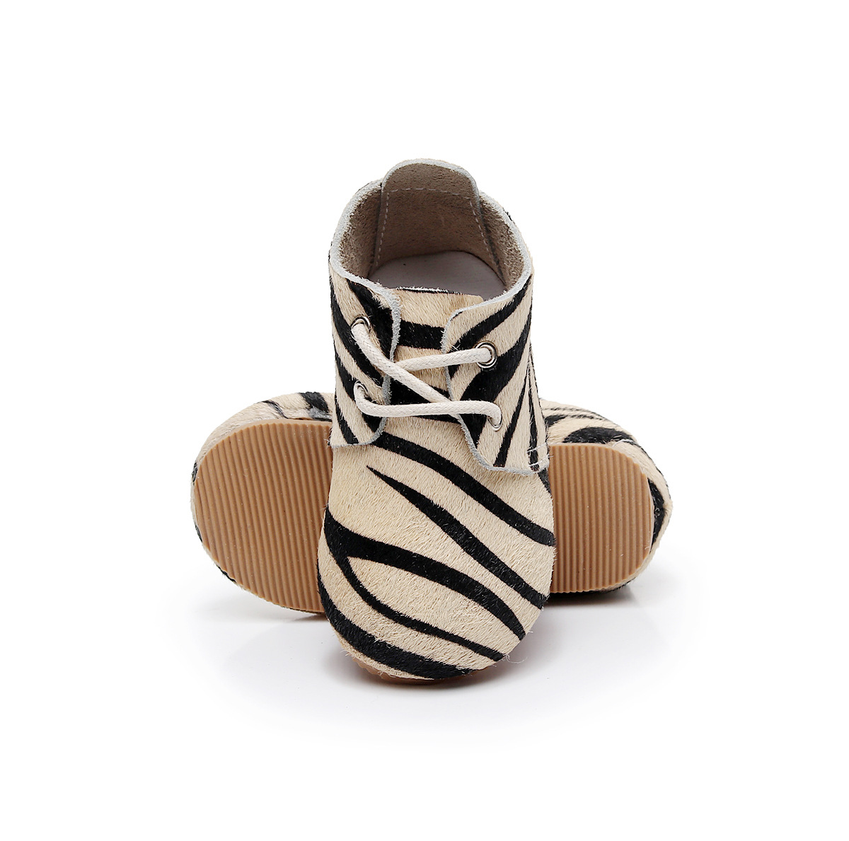 Fashion Leopard Baby Moccasins Rubber Sole Infant Toddler Shoes First Walkers Genuine Leahter
