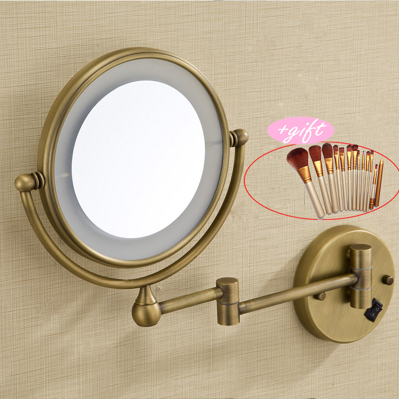 8LED light Wall Mounted Round 3x Magnifying Mirror LED Bronze Brushed nickel Makeup Mirror make up private mirror with Gift go